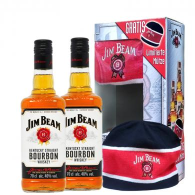 Jim Beam White Label 2 x 0,7l 40% + čiapka Jim Beam